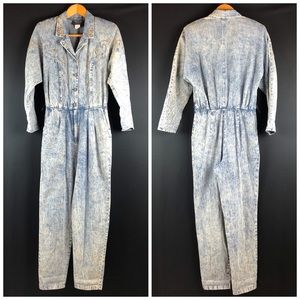 PG Collections Vintage 80s Acid Wash Jean Jumpsuit